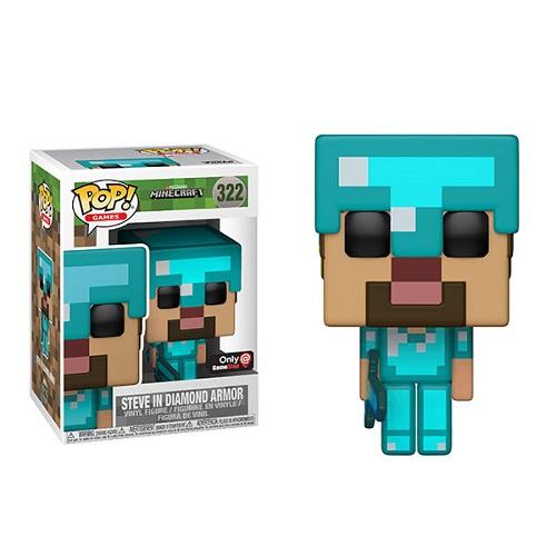 Funko Pop Games 322 Minecraft Steve In Diamond Armor Iexclusive