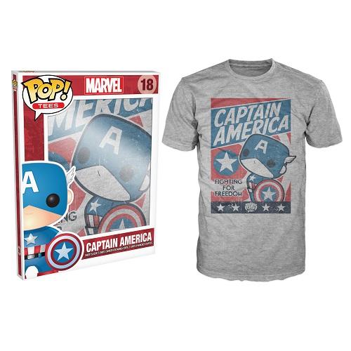 Pop Tees 18: Marvel - Captain America Grey (Medium)