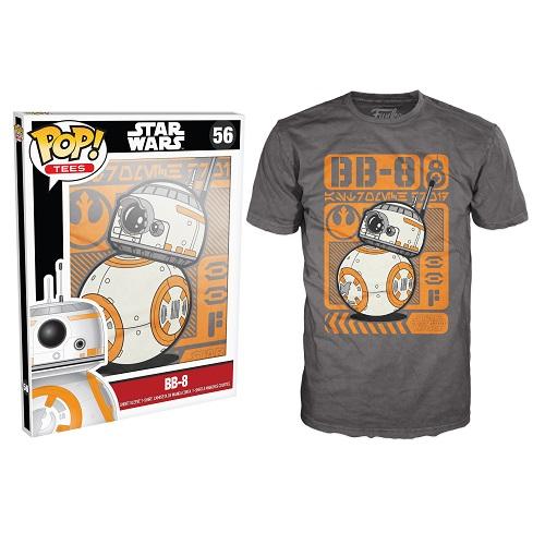 Pop Tees 56: Star Wars The Force Awaken – BB-8 Poster Grey (Small)