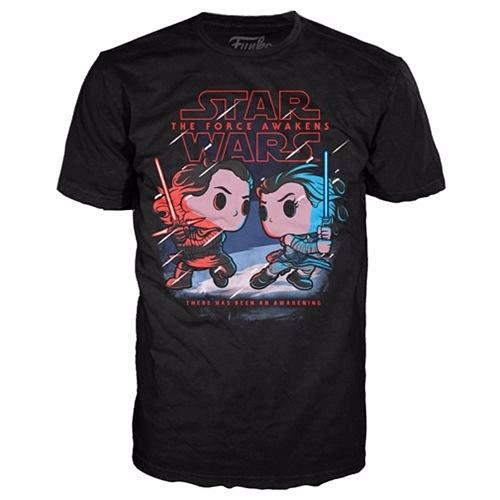Pop Tees 68: The Force Awaken - Kylo Ren Vs Rey Black (XL)