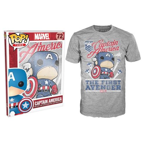 Pop Tees 72: Captain America Avenger Grey (XS)