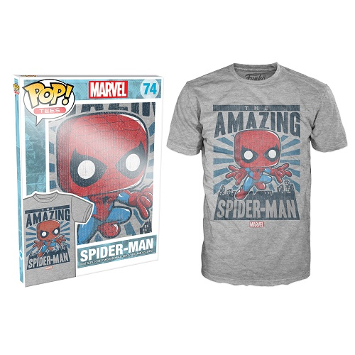 Pop Tees 74: Spider-Man City Grey (Small)