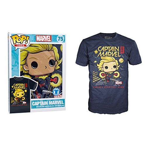 Pop Tees 75: Captain Marvel (Navy) [XS]